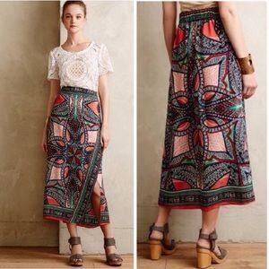 Maeve Anthropologie Geoda Faux Wrap Silk Skirt 10